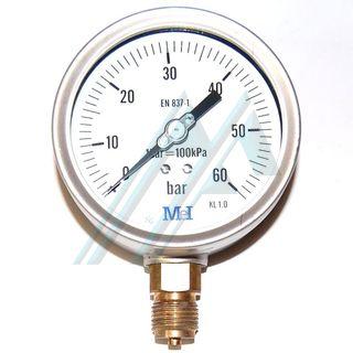 Manometro 100 a 0 a 60 kg scarico verticale - Manometro in bagno di glicerina ...