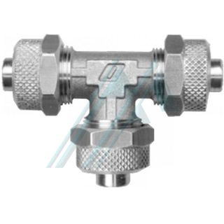 """Nickel-plated brass semi-quick connector (RUT - """"T"""" Series for tube - tube - tube union)"""