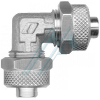 """Nickel-plated brass semi-quick connector (RUL Series - """"L"""" tube - tube)"""